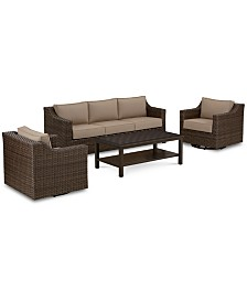 Camden Outdoor Aluminum 4-Pc. Seating Set (1 Sofa, 2 Swivel Chairs & 1 Coffee Table), Created for Macy's