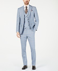 Tallia Orange Men's Slim-Fit Stretch Light Blue/Yellow Sharkskin Windowpane Vested Suit