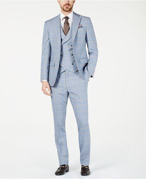 Tallia Orange Men's Slim-Fit Stretch Light Blue/Yellow Sharkskin Windowpane Vested Suit