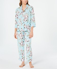 Miss Elaine Flower-Print Notch Collar Top and Pajama Pants Set