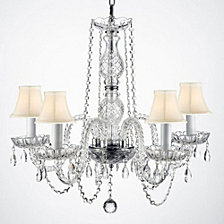 Empress Crystal 5-Light Clear Crystal Chandelier with White Shades