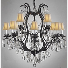 Versailles 12-Light Black Wrought Iron and Crystal Chandelier with White Shades