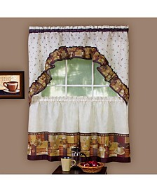 Coffee Printed Tier and Swag Window Curtain Set, 57x36