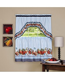 Golden Delicious Printed Tier & Swag Window Curtain Set, 57x36