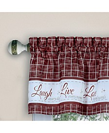 Live, Love, Laugh Window Curtain Tier Pair and Valance Set, 58x24