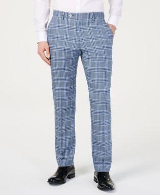 Men's Modern-Fit Light Blue Bold Plaid Suit Pants
