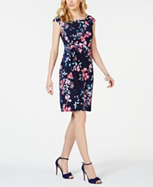 Connected Petite Floral-Print Gathered-Waist Dress