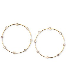 "Crystal Studded Small 1"" Small Hoop Earrings"