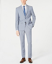 Men's Modern-Fit Light Blue Sharkskin Suit Separates