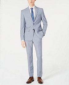 DKNY Men's Modern-Fit Light Blue Sharkskin Suit Separates
