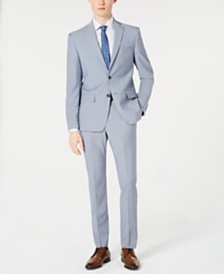 DKNY Men's Modern-Fit Light Blue Sharkskin Suit Separates