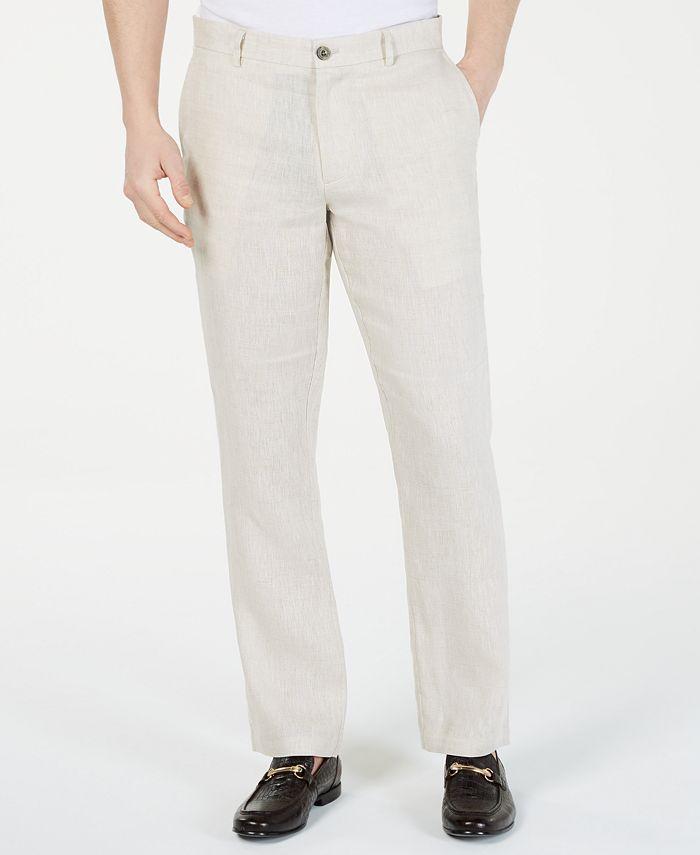 Tasso Elba - Men's Island Linen Flat-Front Pants