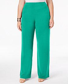 Alfani Plus & Petite Plus Size Knit Wide-Leg Pant, Created for Macy's