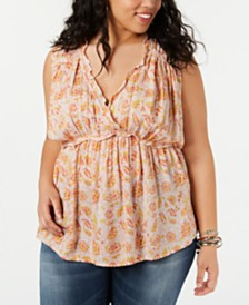 Lucky Brand Plus Size Printed Sleeveless Ruffle Top