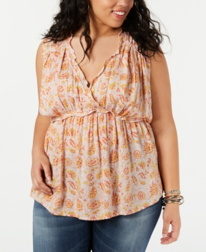Lucky Brand Tops PLUS SIZE PRINTED SLEEVELESS RUFFLE TOP