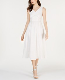 Calvin Klein Eyelet Fit & Flare Midi Dress