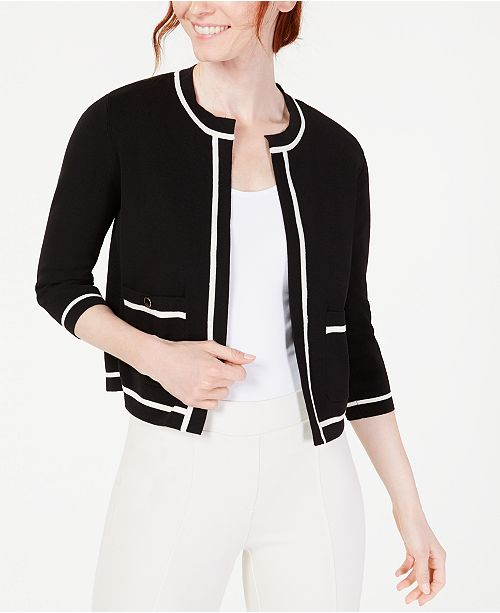 Anne Klein Tipped 3/4-Sleeve Cardigan