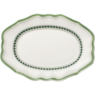 French Garden Green Lines Oval Platter
