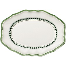 French Garden Green Lines Oval Platter