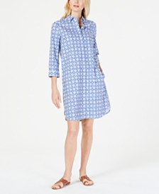 Weekend Max Mara Tile-Print Cotton Shirtdress