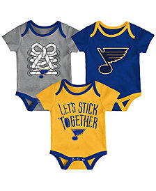 Outerstuff St. Louis Blues Five On Three Creeper 3 Pc Set, Infants (0-9 Months)