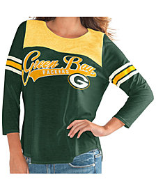 G-III Sports Women's Green Bay Packers Sleeve Stripe Raglan T-Shirt
