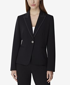 Tahari Petite Single-Button Stitch-Trim Blazer