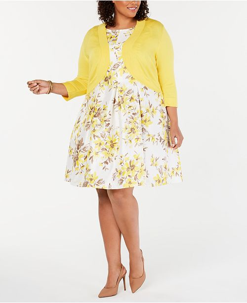 Jessica Howard Plus Size Floral-Print Fit & Flare Dress & Shrug