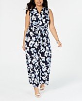 9e9c7355859 Jessica Howard Plus Size Floral Wrap Jumpsuit