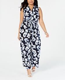 Jessica Howard Plus Size Floral Wrap Jumpsuit