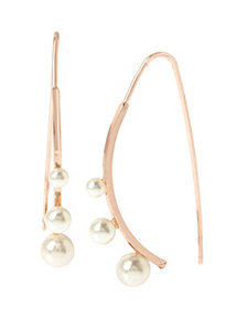 BCBGeneration Pearl Rose Gold Curved Stick Drop Earrings