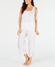 Charter Club Eyelet Lace Cotton Tank Top and Capri Pajama Pants Set, Created for Macy's
