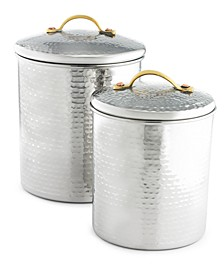 Hammered Stainless Steel Canisters, Set of 2, Created for Macy's