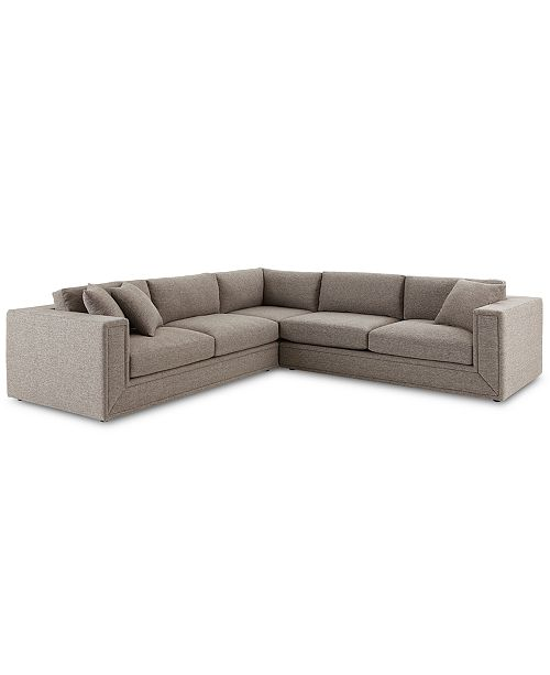 """Furniture CLOSEOUT! Dulovo 127"""" 3-Pc. Fabric Sectional Sofa, Created for Macy's"""
