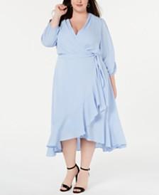 Jessica Howard Plus Size Ruffled Wrap Midi Dress