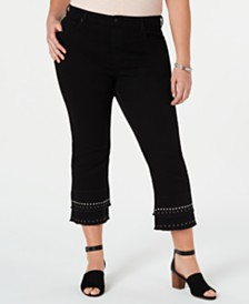 31ceb21aba0c3 Style   Co Cotton Plus Size Stud-Embellished Cropped Jeans