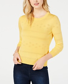 Maison Jules Pointelle-Knit Cropped Sweater, Created for Macy's