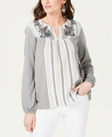 Style & Co Striped Embroidered Split-Neck Top, Created for Macy's