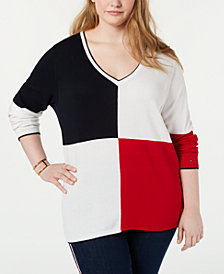 Tommy Hilfiger Plus Size Colorblocked Cotton Sweater, Created for Macy's