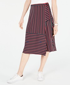 Tommy Hilfiger Striped A-Line Wrap Skirt, Created for Macy's