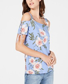 I.N.C. Printed Lace-Up-Sleeve Top, Created for Macy's