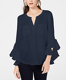 INC Petite Ruffled-Cuff Split-Neck Linen Top, Created for Macy's