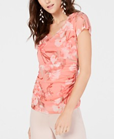 I.N.C. V-Neck Printed Double-Layer Top, Created for Macy's