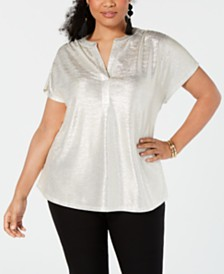 I.N.C. Plus Size Texted Metallic Top, Created for Macy's