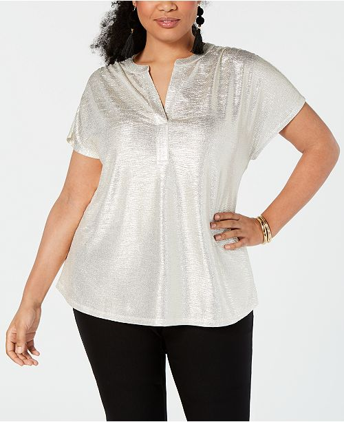 INC International Concepts I.N.C. Plus Size Texted Metallic Top, Created for Macy's