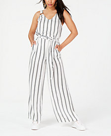Rosie Harlow Juniors' Striped Ring Jumpsuit, Created for Macy's