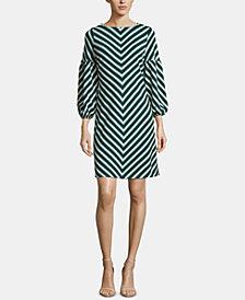 ECI Chevron-Print Puff-Sleeve Dress