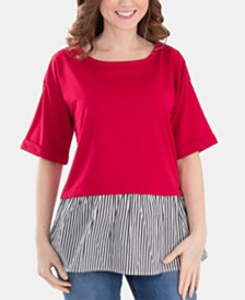 NY Collection Petite Lattice-Back Layered-Look Top