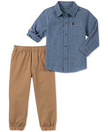 Calvin Klein Baby Boys 2-Pc. Cotton Chambray Shirt & Twill Pants Set