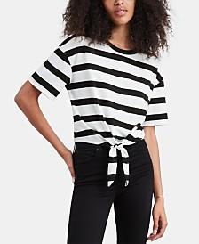 Levi's® Striped Tie-Front Cotton T-Shirt